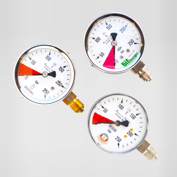 Veltins-Manometer 0-250 bar 1/4 AG Flaschendruck, Inhaltsmanometer