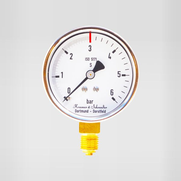"Manometer 0-6/3 bar, 1/4"" AG KS 60mm"